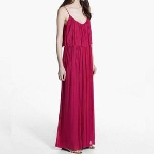 MNG Magenta Pleated Maxi Dress with Straps Small